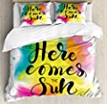 Super Soft Cover quiltHere Comes Sun Text Duvet Cover SetSuper Soft Bedding Set and Easy Care