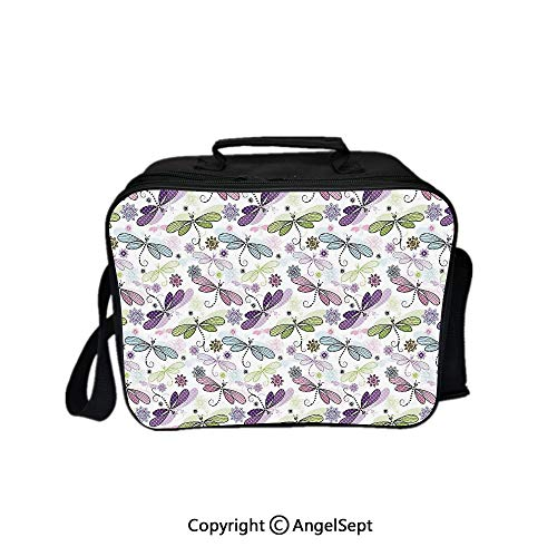 Hot Sale Lunch Container,Abstract Bugs with Ethnic Hippie Style Sketchy Flowers Artwork Decorative Purple Green and Pale Blue 8.3inch,Lunch Bag Large Cooler Tote Bag For Men, Women
