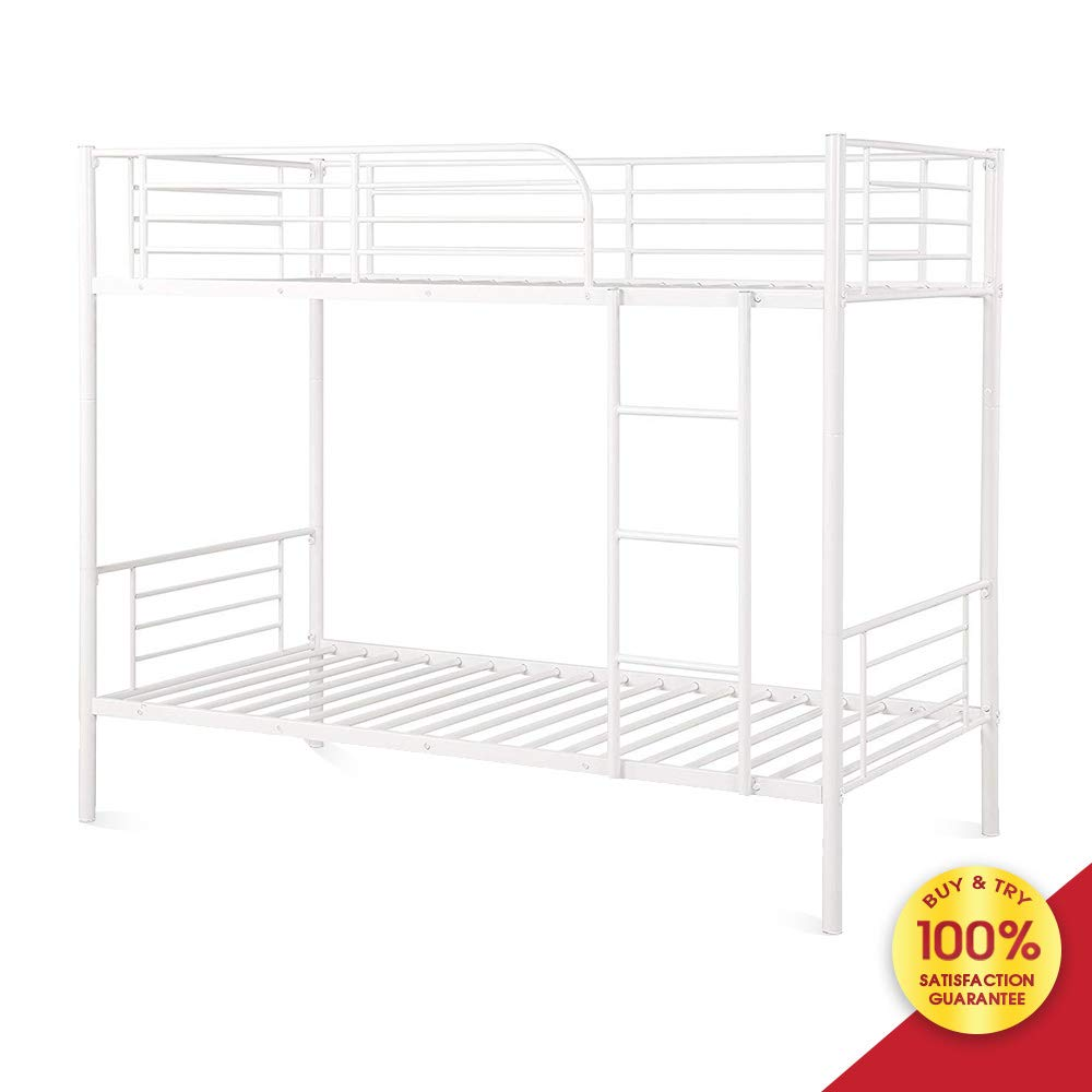 Hooseng Modern Metal Steel Frame 400 lb Heavy Duty with Stairs Side Guard Rails 10.8 inch Storage Space No Box Spring Needed 2 Platform for Kids Teens Adults Bunk Bed Twin, White