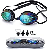 Swimming Goggles ,Triathlon Glasses Anti Fog Shatterproof UV Protection,No Leaking with Silicone Nose Clip Ear Plugs and Protection Case Swimming Goggles Suit for Men Women Kids-Best Swim Goggles