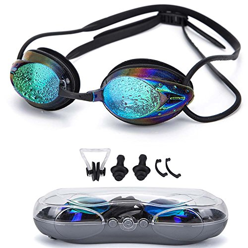 Swimming Goggles ,Triathlon Glasses Anti Fog Shatterproof UV Protection,No Leaking with Silicone Nose Clip Ear Plugs and Protection Case Swimming Goggles Suit for Men Women Kids-Best Swim - Swimming Best Goggles