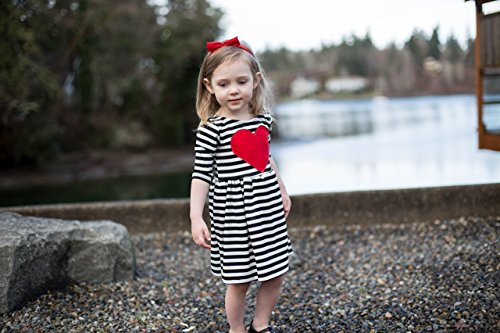 Skuttlebum Baby and Toddler Black & White, Red Heart Patch Dress, Girl's Valentine's Day Clothes Outfit - 2T - 12 by Skuttlebum