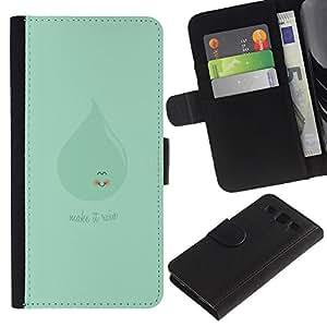 """JackGot ( Verde lindo hacer llover"""" ) Samsung Galaxy S3 III i9300 i747 la tarjeta de Crédito Slots PU Funda de cuero Monedero caso cubierta de piel"""