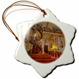 3dRose orn_92592_1 Spiral staircase, Lorretto Chapel, Santa Fe, NM US32 CHA0038 Chuck Haney Snowflake Porcelain Ornament, 3-Inch