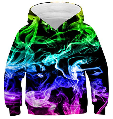 - AIDEAONE Unisex Sweatshirt KidsSmoke Hoodies 3D Print Pullover Cool Hoodies with Pocket