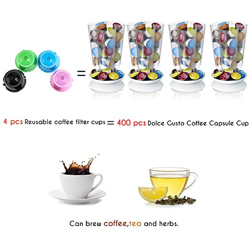 BRBHOM Colorful Dolce Gusto Refillable Capsules Pods Rusable Coffee Filters Set of 6 by BRBHOM (Image #4)