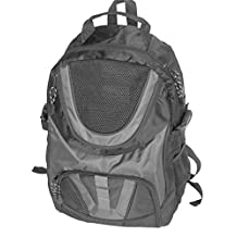 School Smart Dual Pocket Nylon Backpack with Multiple Compartments and Cushioned Straps - Gray