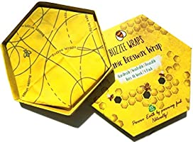 BUZZEE- Organic Beeswax Wrap 4 Pack | Eco Friendly,Reusable Food Wraps,Plastic Free Food Storage |Beeswax Food Wraps | Lemon and Lemongrass Essential Oil Scented | 1 Large 2 Medium 1 Small