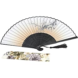 Luck with bamboo Chinese/Japanese Vintage Retro Fabric Fans for Girls Women,Hand Held Folding Fans for Wedding,Dancing,Birthday,Party,Decoration,Home Gifts,with a Fabric Sleeve for Protection (brown)