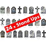 24 x Halloween Party Tombstone Graveyard Gravestone STAND UP STANDUPS Fairy Muffin Cup Cake Toppers Decoration Edible Rice Wafer Paper