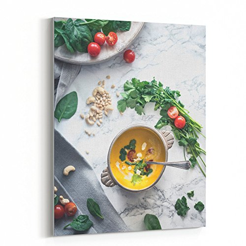 Arctic White Vegetable Bowl - Westlake Art Canvas Print Wall Art - Corn Soup on Canvas Stretched Gallery Wrap - Modern Picture Photography Artwork - Ready to Hang - 8x10in