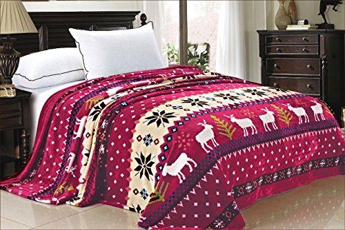 BOON Light Weight Christmas Collection Printed Flannel Fleece Blanket Burgundy Christmas Deer (Queen) (Tree Burgundy Christmas Lights)