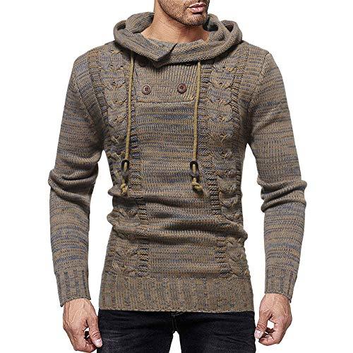 Newbuir Men's Cowl Neck Knit Elasticity Long Sleeve Slim Hooded Sweater ()
