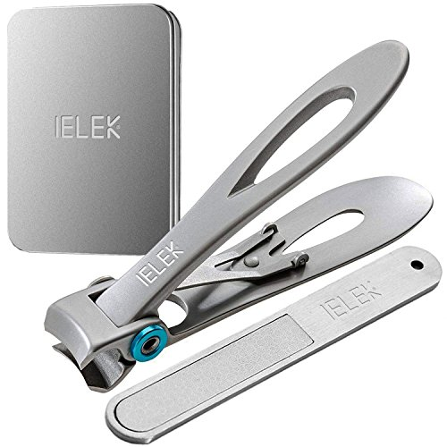 nail Toenail Nippers Clippers with Nail File Set - 15mm Wide Jaw Opening Deluxe Sharp Sturdy Trimmer Stainless Steel for Thick Nails Big Size ()