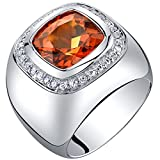 Mens 7.50 Carats Created Padparadscha Sapphire Ring Sterling Silver Size 8