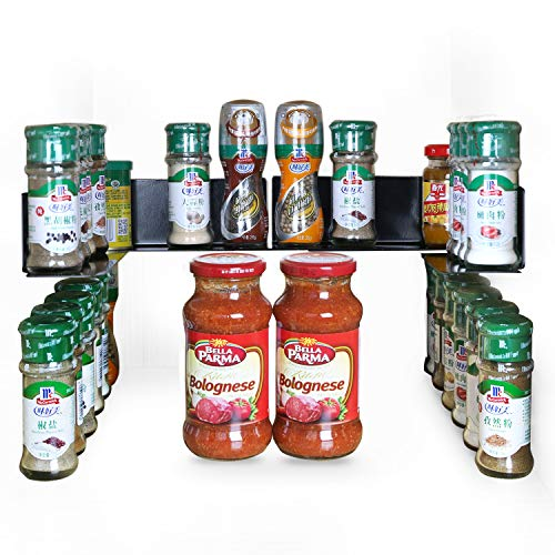 """(TJ.Moree Spicy Jar Shelf 3M Adhesive Spice Organizer Metal Stackable for Kitchen Cabinet 8.9"""" Length (4 pack))"""