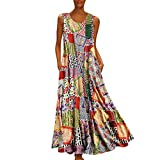 Aniywn Oversized Dress Women s Sleeveless Casual Print Floral Loose Party Long Dress Plus Size