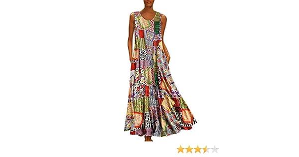 Dresses Vintage Women Plus Size Bohemian O-Neck Floral Print Vintage Sleeveless Long Dress DA