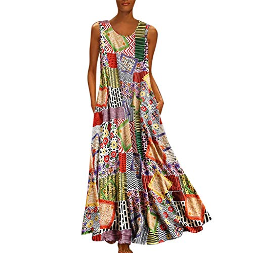 (GDJGTA Dress for Womens Vintage Print Floral Patch Dress Sleeveless O-Neck Loose Maxi Dress)