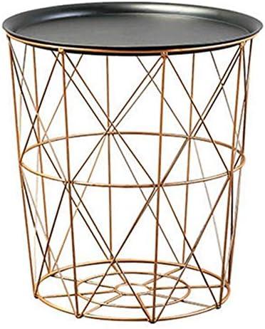 Luntus 現代の金丸線金属収納バスケットサイドテーブル