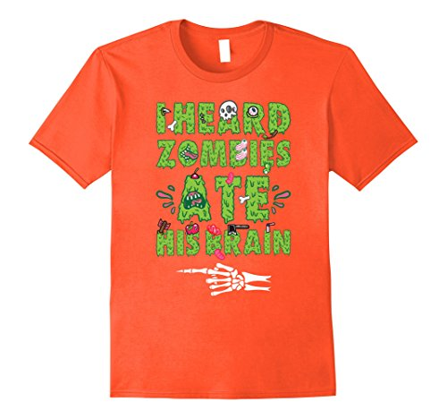 His And Her Zombie Costumes (Mens Zombies Ate His Brain Halloween T Shirt - His and Hers XL Orange)
