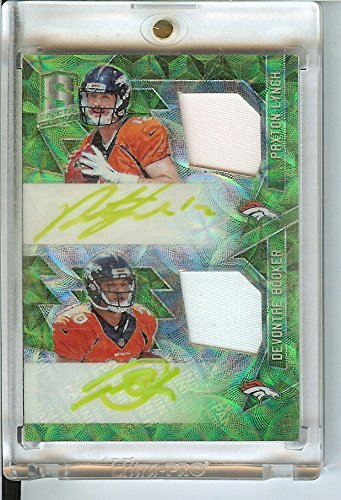 Football NFL 2016 Spectra Rookie Dual Patch Autographs Neon Green #13 Devontae Booker/Paxton Lynch MEM Auto 5/10 Broncos by Spectra