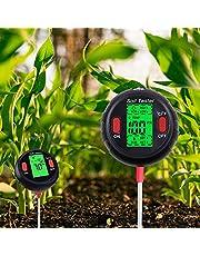 مقياس رطوبة التربة 5 في 1 من زيسيكبي، جهاز قياس درجة الحموضة احترافي، شاشة لدرجات الحرارة والرطوبة البيئية والشمس، اداة اختبار لشدة اشعة الشمس للنباتات المزروعة في وعاء/ الحديقة/العشب / المزرعة