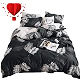 BuLuTu Twin Duvet Cover Black White Cotton Tropical for Kids Adults,Modern Natural Botanical Leaf Boho Reversible Teen Boys Girls Bedding Sets Twin Comforter Cover Zipper Closure,No Comforter