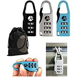 3- Dial Combination Luggage Metal Lock 3 Pack with Bonus Free Travel Bag (Blue, Black, Silver)