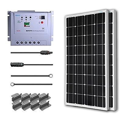 Renogy 200 Watt 12 Volt Monocrystalline Solar Starter Kit w/ 20A MPPT Charge Controller