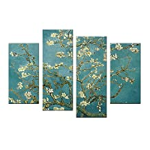 Wall Art Painting Flower Pictures Printed On Canvas Landscape Painting Giclee Artwork For Home Living Room Decoration Stretched by Framed Ready to Hang (Almond Blossom)
