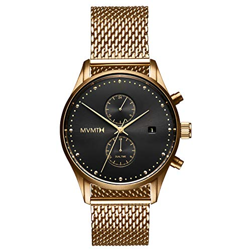 MVMT Voyager Watches | 42 MM Men's Analog Watch | Stainless Mesh Wristband | Gold