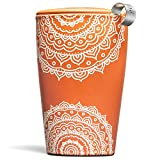 Tea Forté KATI Cup Ceramic Tea Brewing Cup with Infuser Basket and Lid for Steeping, Loose Leaf Tea Maker, Chakra