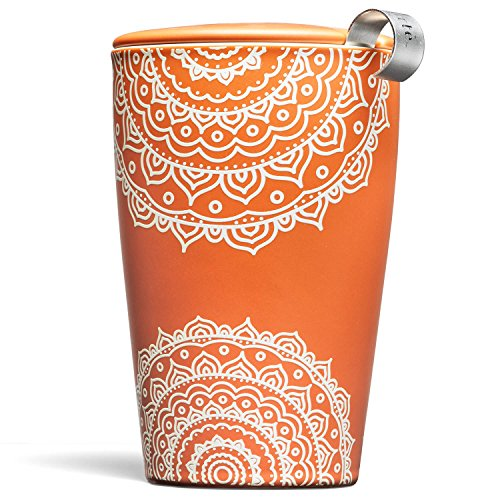 Tea Fort KATI Cup Ceramic Tea Brewing Cup with Infuser Basket and Lid for Steeping, Loose Leaf Tea Maker, Chakra