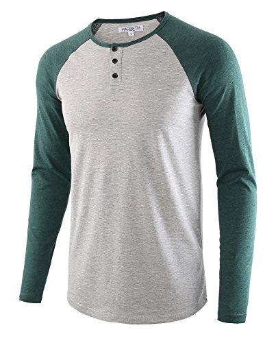 HARBETH Men's Casual Long Sleeve Henley Shirt Raglan Fit Baseball T-Shirts Tee H.Gray/Dk.Green S