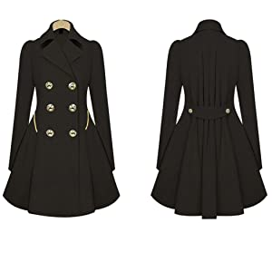 Sun Lorence Women Fashion Double Breasted Trench Coat Long Sleeve Windbreakers Black S