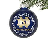Boelter NCAA Candy Cane Traditional Glass Ball Christmas Ornament- 2 5/8'-Notre Dame Fighting Irish-Navy