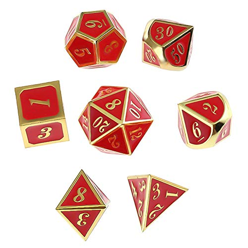 Uspeedy Zinc Alloy Metal Polyhedral 7-Die Dice Set Metal Role Playing Game Dice Set for Dungeons and Dragons RPG Dice Gaming D&D Math Teaching with Drawstring Pouch( H10)