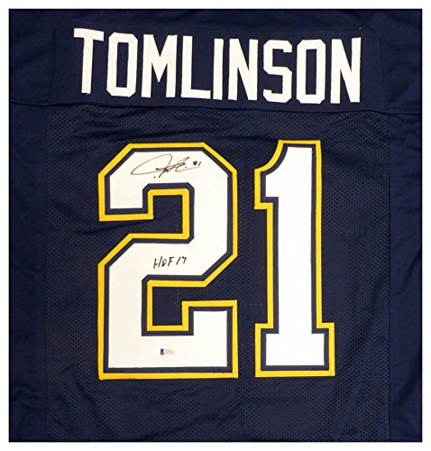 San Diego Chargers LaDainian Tomlinson Autographed Signed Blue Jersey HOF 17 - Beckett Authentic ()