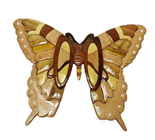 (Coastal Wood Factory Handmade Art Intarsia Wooden Wall Plaque - Butterfly(091))