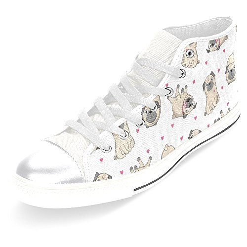 Canvas Casual Fashion Lace Sneakers Classic Pugs InterestPrint Womens High Up Shoes Trainers Top gIXfnqUw