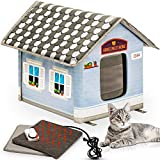 PETYELLA Heated Cat House with Electric Heat Mat and Plug in Timer - Keep Your Cats Warm & Dry