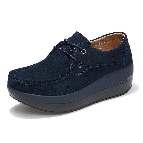 Zapatos De Plataforma Planos De Mujer Trabajo Ancho Mocasines De Cuero De Vaca Mocasines Slip On Wedges Footwear: Amazon.es: Zapatos y complementos