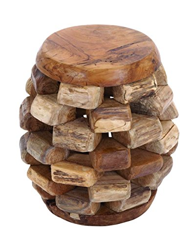 Benzara Solid Wooden Teak Material Stool with Rich