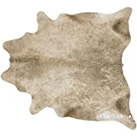 Champagne Brazilian Cowhide Rug Cow Hide Skin Leather Area Rug: LARGE