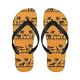 InterestPrint Non-Slip Flip Flop Slippers, Palm Tree Elephant Giraffe Summer Beach Slim Thong Sandal Outdoor Casual Footwear