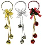 Christmas Door Hangers - Set of 3 Jingle Bell Hangers - Red, Silver and Gold Finish - Christmas Decorations