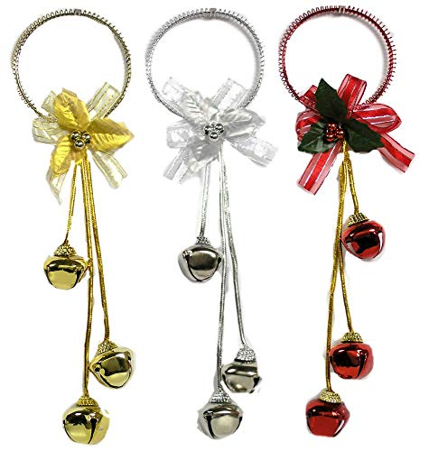 BANBERRY DESIGNS Christmas Door Hangers - Set of 3 Jingle Bell Hangers - Red, Silver and Gold Finish - Christmas Decorations Christmas Door Knob Hangers