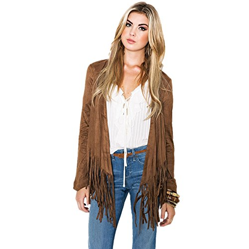 MIKTY Women's Outwear Short Coat Casual Suede Punk Fringe Jacket #1 Khaki XL