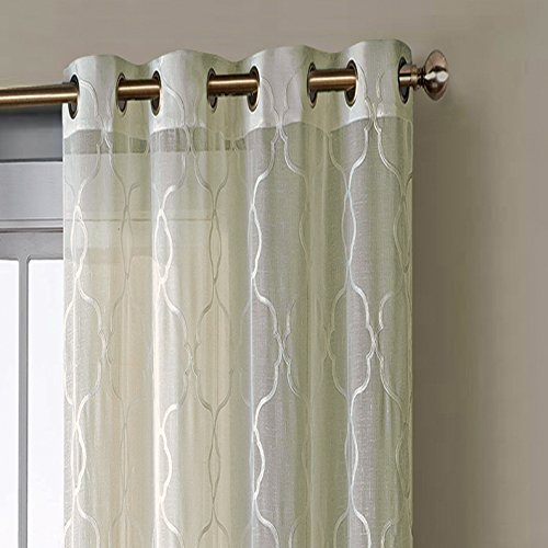 window elements boho embroidered sheer faux linen extra wide 108 x 96 in grommet curtain panel. Black Bedroom Furniture Sets. Home Design Ideas